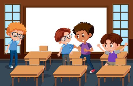 Scene with kid bullying their friend in classroom illustration Ilustracja