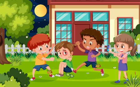 Scene with kid bullying their friend in the park at night illustration