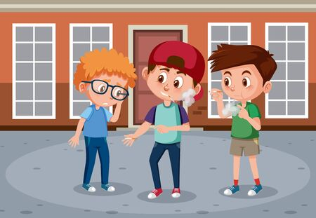 Scene with kid bullying their friend on the street illustration 矢量图像