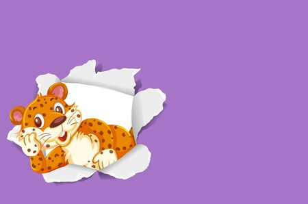 Background template design with wild tiger on purple papaer illustration
