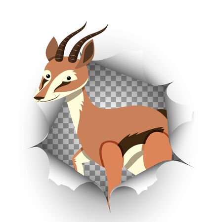 Cute gazelle coming out of cracked wall illustration