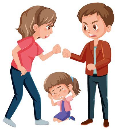 Häusliche Gewaltszene mit Eltern, die vor der Illustration des kleinen Mädchens kämpfen Vektorgrafik