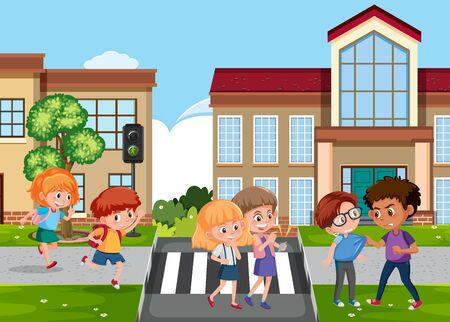 Scene with kid bullying their friend on the street illustration Illusztráció