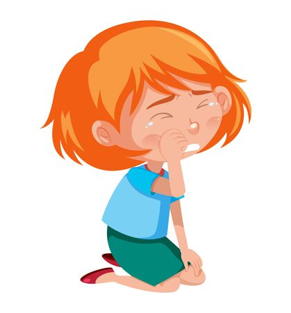 Crying girl sitting on the floor on white background illustration