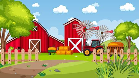 Background scene with red barns in the park illustration Illustration