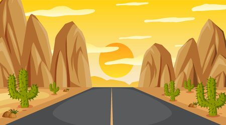Background scene with empty road to the mountain at sunset illustration