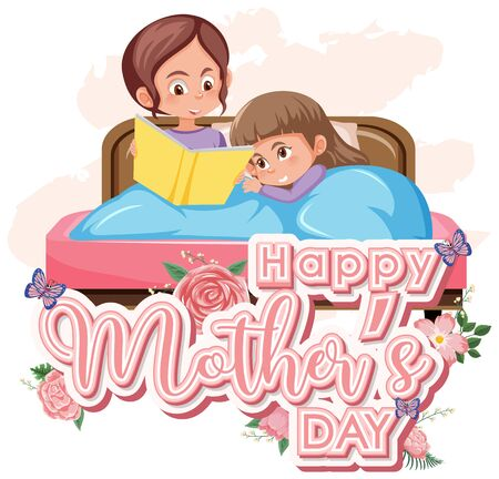 Template design for happy mother's day with mom and kid in bed illustration