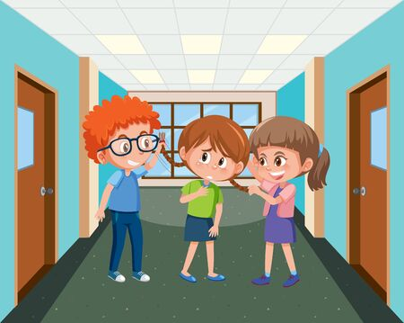 Scene with kid bullying their friend at school illustration Vetores