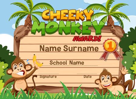 Certificate template design for cheeky monkey award with two monkeys in the park illustration Ilustração