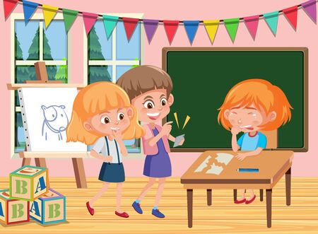 Scene with kid bullying their friend in the classroom illustration
