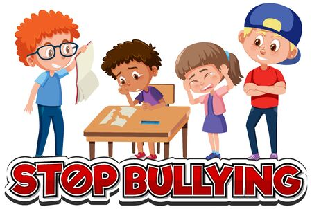 Stop domestic violence font design with kids bullying little boy illustration