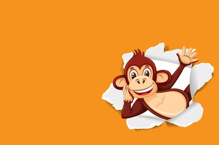 Background template design with wild monkey on orange paper illustration