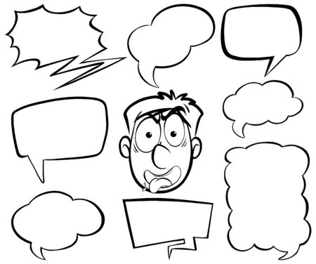 Doodle drawing of angry man and speech bubbles on white background illustration
