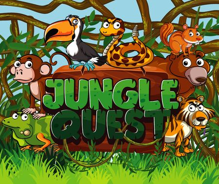 Font design for jungle quest with many wild animals in the forest background illustration