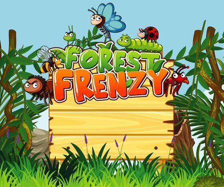 Font design for forest frenzy with many insects in the woods illustration