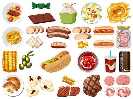 Large set of food and desserts on white background illustration