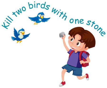 English idiom with picture description for kill two birds with one stone on white background illustration