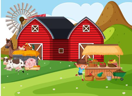 Farm scene with girl and many animals on the farm illustration