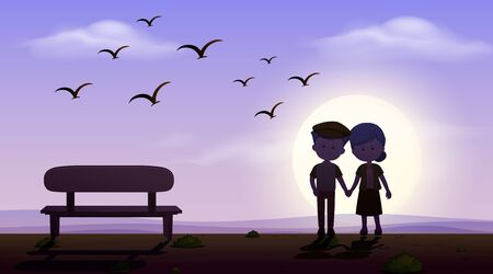 Scene with love couple holding hand at sunset illustration