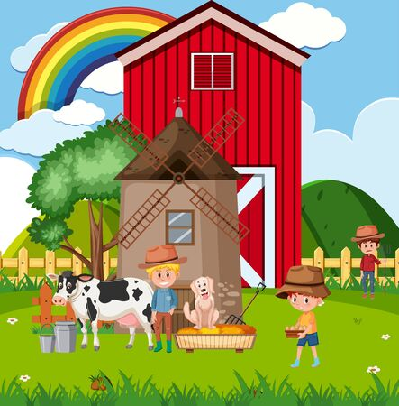 Farm scene with farmes and animals on the farm illustration