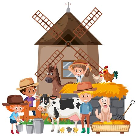 Scene with farmers and many animals illustration