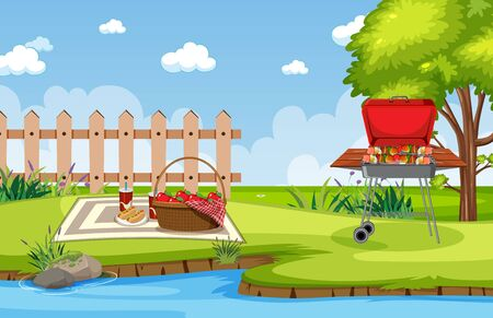 Background scene with barbecue in the park illustration