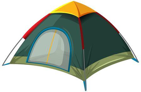 Green tent on white background illustration