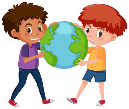 Two happy boys holding the globe on white background illustration