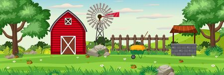 Background scene with red barn on the farm illustration