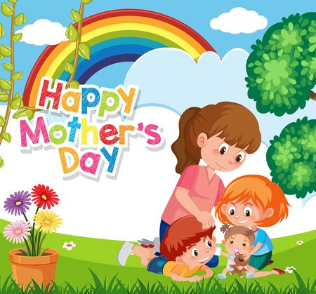 Template design for happy mother's day with mom and children in the park illustration