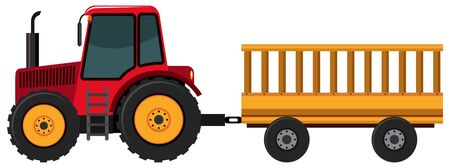 Tractor pulling wagon on white background illustration Vettoriali