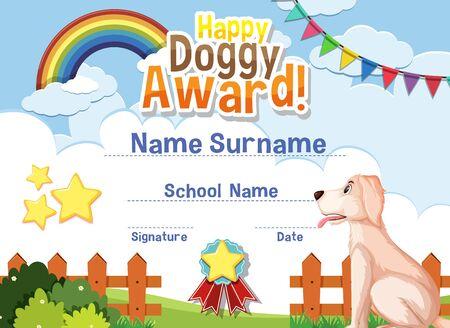 Certificate template design for happy doggy award with cute dog in the park illustration Vektoros illusztráció