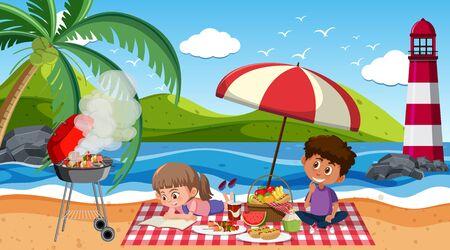 Scene with kids having picnic on the beach illustration Stock Illustratie