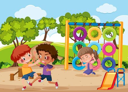 Scene with kid bullying their friend in the playground illustration