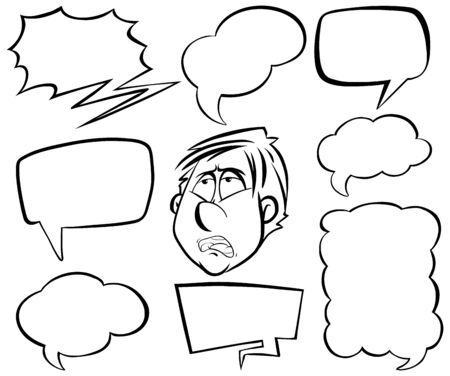 Doodle drawing of man and speech bubbles on white background illustration