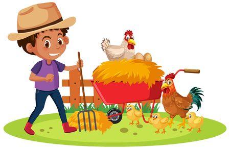 Farm scene with farmboy and many chickens illustration