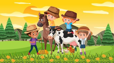 Scene with happy kids with horse and cow in the park illustration