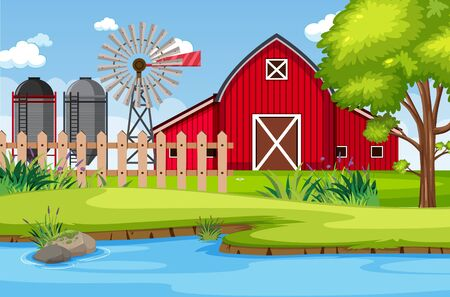 Background scene with red barn and windmill on the farm illustration Illustration