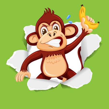 Background template design with wild monkey on green paper illustration Иллюстрация