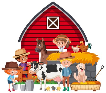 Scene with farmers and many animals on the farm illustration
