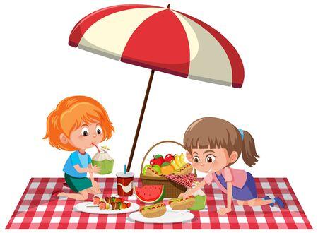 Two girls having picnic on white background illustration Vecteurs