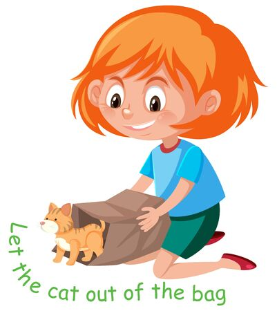 English idiom with picture description for let the cat out of the bag on white background illustration