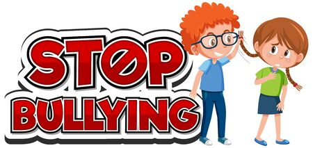 Stop domestic violence font design with kid bullying friend illustration
