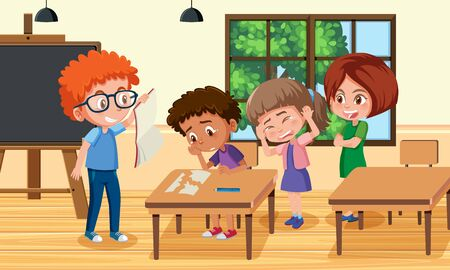 Scene with kid bullying their friend at school illustration