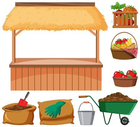 Food vendor and many farming items on white background illustration