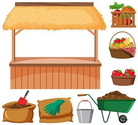 Lebensmittelverkäufer und viele landwirtschaftliche Artikel auf weißer Hintergrundillustration