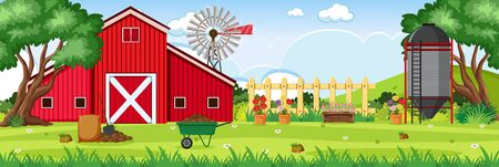 Background scene with red barn and silo on the farm illustration