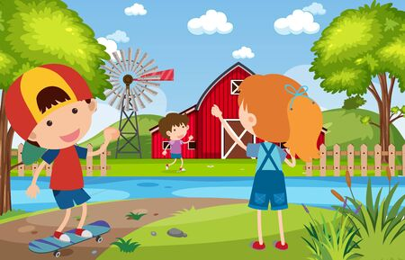 Background scene with happy children in the park illustration Иллюстрация