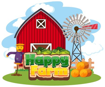 Font design for happy farm with red barn and scarecrow illustration