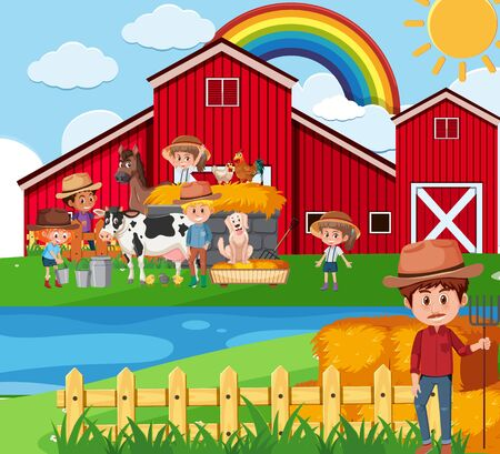 Farm scene with farmers and children on the farm illustration